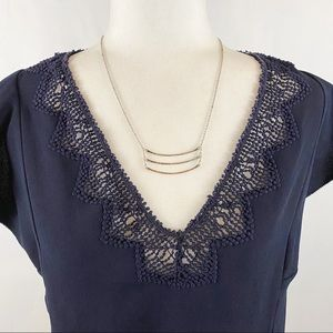 REBECCA TAYLOR embroidered V-neck cap sleeve top